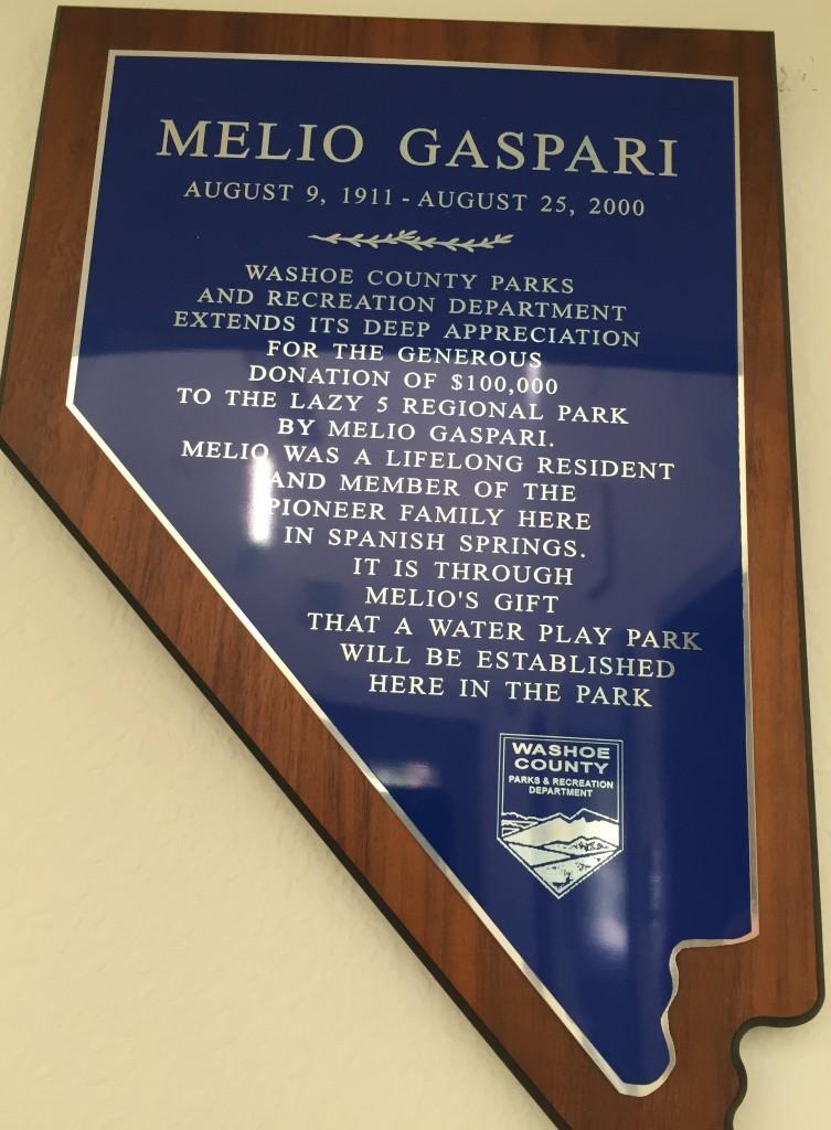 Melio Gaspari Water Park Donation
